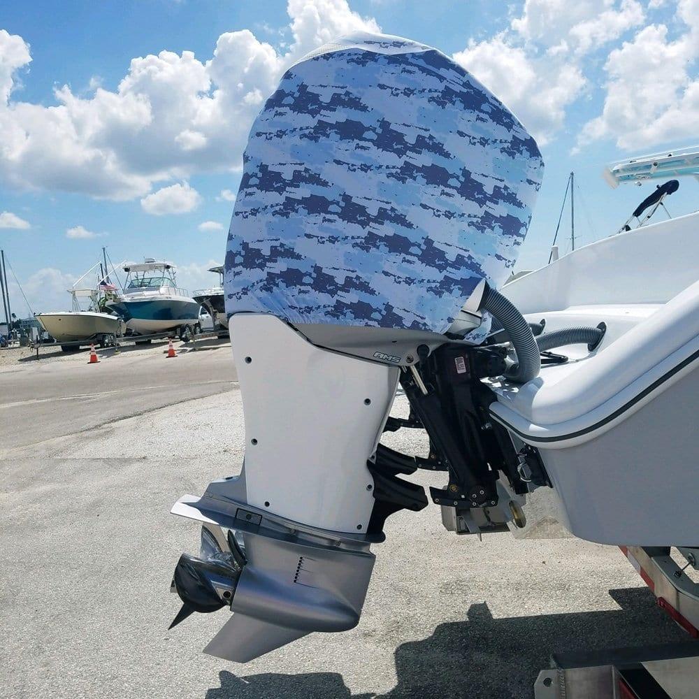 Blue Camo Outboard Motor Cover